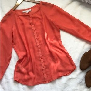 Blush Peach LOFT button down blouse❤️